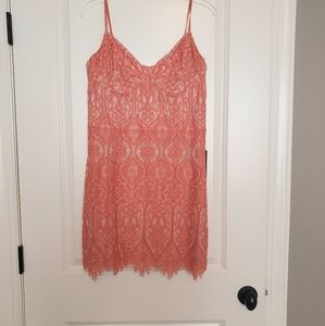 NWT Express Coral Lace Bustier Mini Dress Sz L
